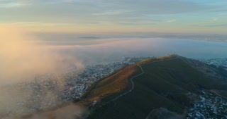 Aerial Reveal of Signal Hill in Orange Sunset Light