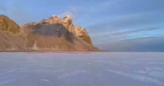Aerial Revolving Shot of Vestrahorn Mountains and Ice Lake
