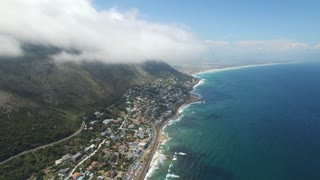Aerial View of Kalk Bay with Cloudy Blue Sky