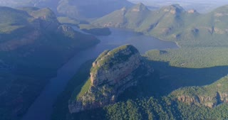 Aerial View Of River and Mountain at Blyde River Canyon in South Africa