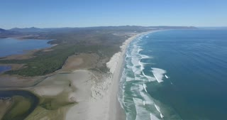 Beach and Ocean in Hermanus, South Africa Aerial View