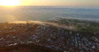 Cape Town Aerial Misty Sunset at Green Point