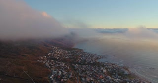 Cape Town Aerial of Camps Bay in Beautiful Sunset