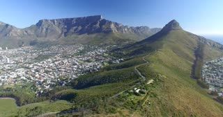 Cape Town Aerial of Table Mountain and Lion's Head