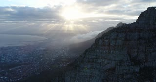 Cape Town Aerial of Table Mountain at Beautiful Sunrise