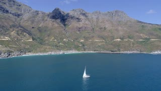 Cape Town Aerial of Yacht at Chapman's Peak Drive