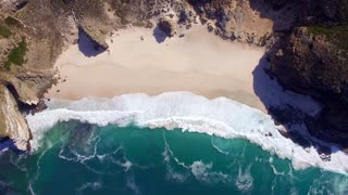 Cape Town Beach at Cape Point Rise and Spin Aerial View