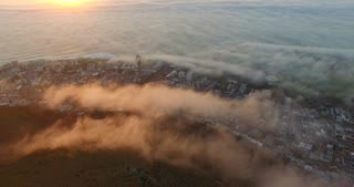 Cape Town Misty Sunset Aerial Shot