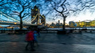Evening Hyperlapse Tower Bridge and the Thames London