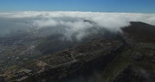 Flying above Table Mountain Aerial Shot