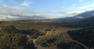 Flying Over Farm in the Cederberg in South Africa at Sunrise