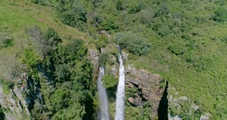 Flying over Mac Mac Falls in South Africa