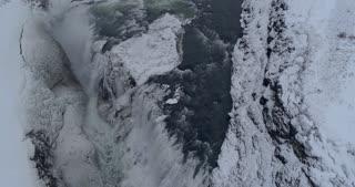 Gullfoss Slow Motion Waterfall Aerial Shot in Winter