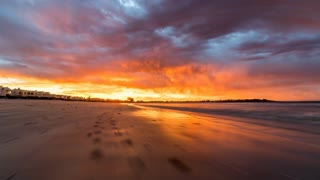 Hyperlapse of Beach with Incredible Orange and Red Sunset