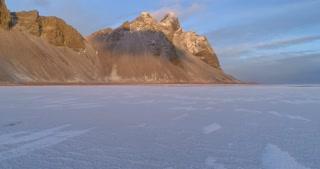 Ice Lake with Vestrahorn Mountains on Coastline