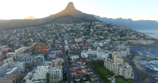 Lion's Head Cape Town Aerial Sunrise Shot