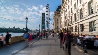 London Eye Hyperlapse During Summer Next to the River Thames