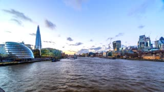 London River Thames and Skyline Time Lapse at Sunset