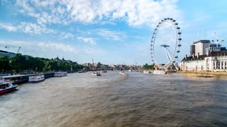 London River Thames Hyperlapse With Ferry and London Eye in Summer