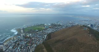 Signal Hill and Green Point Stadium Aerial View at Sunset in Cape Town