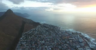 Signal Hill and Sea Point Aerial View at Sunset in Cape Town