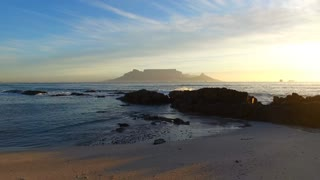 Table Mountain Aerial Shot from Beach at Sunset