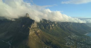 Table Mountain Aerial with Table Cloth and Twelve Apostles Cape Town
