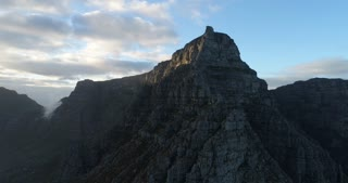Table Mountain Revolving Aerial Shot at Sunrise