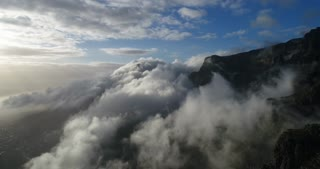 Table Mountain Time Lapse with Clouds Moving by Aerial View