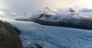 Vatnajokull Glacier Aerial View During Sunset