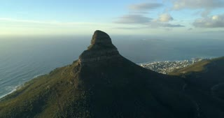 Wide Aerial Shot of Lion's Head Cape Town