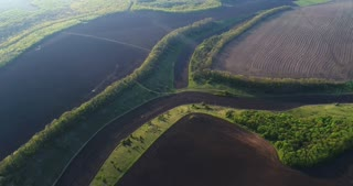 Aerial flight over agriculture fields