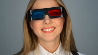 Amazing and smiley woman in 3d glasses