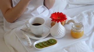 Brunette with breakfast tray on hips using telephone in bed