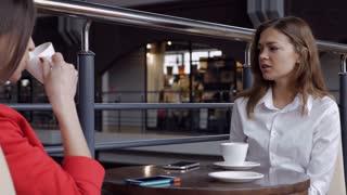 Businesswomen talking during the coffee break