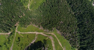 Carpathian mountains with crossing tracks, aerial view