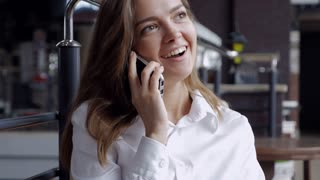 Cheerful businesswoman talking on the telephone