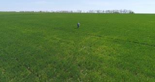 Confident mature man in black glasses walking along green field