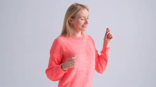 Energetic woman jumping