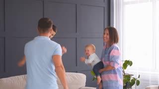 Family having fun while dancing