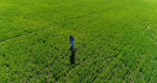 Family walking on green field together, aerial view
