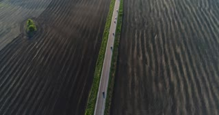Farmland and road aerial view