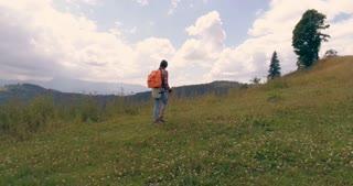 Female hiking on mountain