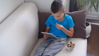 Handsome boy sitting on couch and using tablet at home