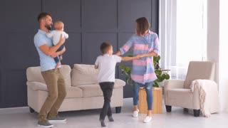 happy family dancing