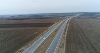 Highway with light traffic, drone footage