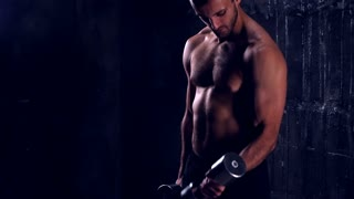 Man performing fitness training workout for triceps