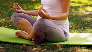 Pregnant healthy woman meditating in nature, practice yoga