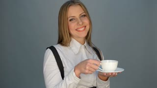 Woman drinking the tea