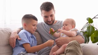 Young family of three spending time together